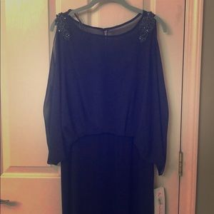 Formal dark blue long dress, chiffon .